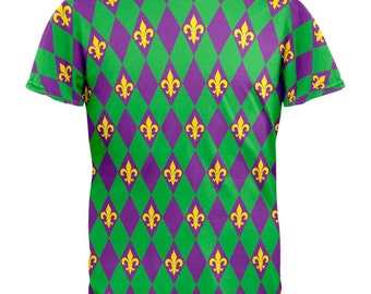 Mardi Gras Fleur De Lis All Over Adult T-Shirt