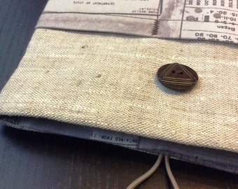 "11"" MacBook Air Case. 11"" MacBook Air Cover. 11"" MacBook Air sleeve. Handmade and Padded. Linen, Newspaper."