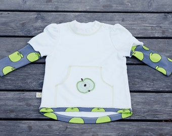 SALE - Cotton girl sweater - White toddler jumper - Toddler girl jumper - Everyday girl sweater - Girls sweatshirt - 2014R-028