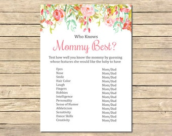 Floral Printable Who Knows Mommy Best Game, Pink Floral Who Knows Mommy Best, Floral Roses Baby Shower, DIY Game, Instant Download, 018-W