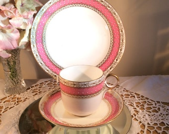Regency period Pink, Gold and Enamel Spode Cup Saucer & Sideplate Trio