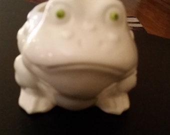 Vintage White Frog Planter