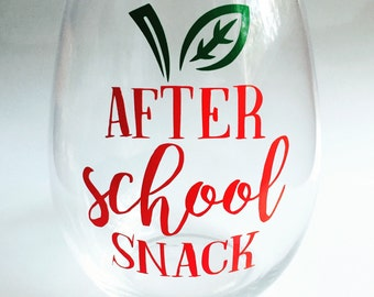 Teacher Stemless Wine Glass Gift - After School Snack - Gift for Teachers