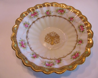 Noritake, Nippon Porcelain Berry Bowl, Hand Painted Gold Accents and Roses, Antique