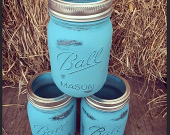 Three rustic mason jars