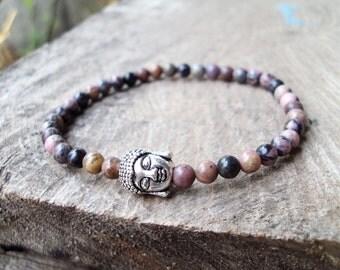 Buddha bracelets,Stone bracelets,Rodonite bracelets,Women bracelets