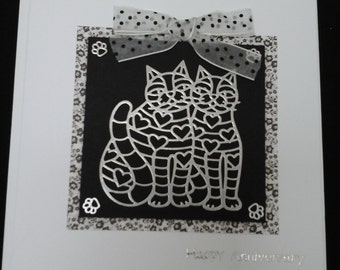 Happy Anniversary Card, monochrome, black and white, two cats, cats