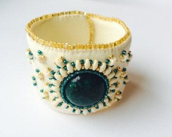 Bracelet with Chrysocolla gemstone.
