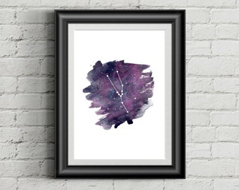 "Taurus, Printable zodiac constellation art, Taurus Print, 5x7"", 11x14"", 8x10"""