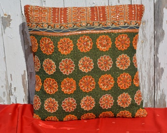 Orange and Green Sequined Saree Pillow Slipcover