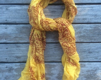 Yellow Himalayan Scarf with red accents