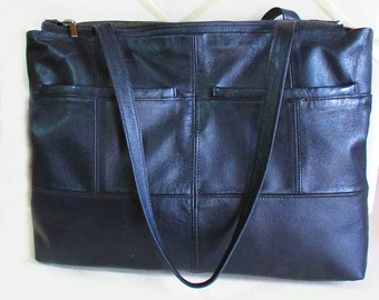 Black leather tote bag recycled leather