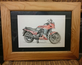 ORIGINAL Framed Pen & Ink Drawing Kawasaki GPZ900R Motorbike