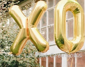 """XO Balloons Large 34""""Mylar Balloons Photo Prop Engagement Party Wedding Set of 2 Large Balloons Helium Quality Choose Gold or Silver"""