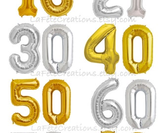 "Milestone Number Balloons 16"" or 34"" Foil GOLD or SILVER 16th, 21st, 30th, 40th, 50th, 60th Birthday / Set of 2 Balloons / 16"" Air Fill only"
