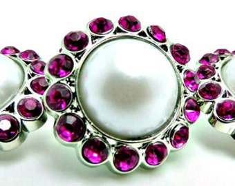 WHITE Pearl Rhinestone Acrylic Buttons W/ Fuchsia Surrounding Rhinestones Brooch Bouquet Coat Buttons 23mm 3185 09P 31R