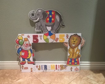 Circus birthday double sided photo frame, circus theme, photo props, party decorations