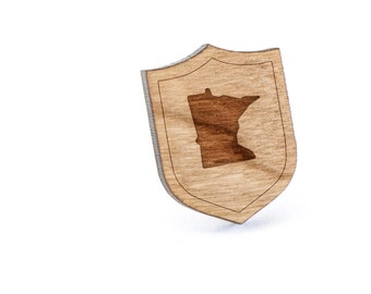 Minnesota Lapel Pin, Wooden Pin, Wooden Lapel, Gift For Him or Her, Wedding Gifts, Groomsman Gifts, and Personalized