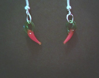 Glass Red Hot Chili Pepper Inspired Drop Earrings With Silver Plated Hooks.