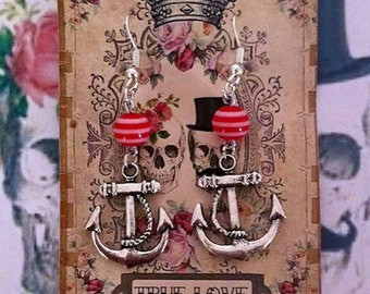 SILVER ANCHOR - Silver Plated Anchor Hook Dangle Drop Earrings With Red Striped Bead