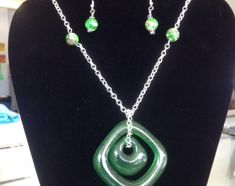 Green glass fired double pendant