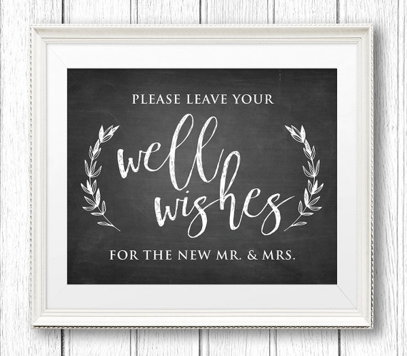 Wedding Well Wishes Sign, Advice Card, Printable, Rustic Chalkboard Reception Sign, Kraft Paper, Instant Download, Digital PDF, 8x10 #CH27