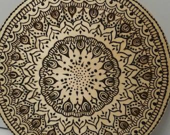 Beautiful Intricate Henna Mandala Tray, Plaque, 11 inch diameter,  Natural Henna, sealed