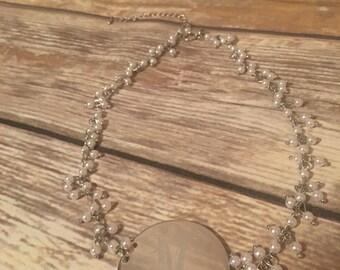 Pearl monogram necklace, monogram pendant pearl necklace