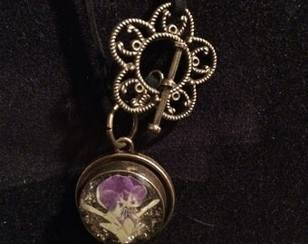 Violet flower charm necklace