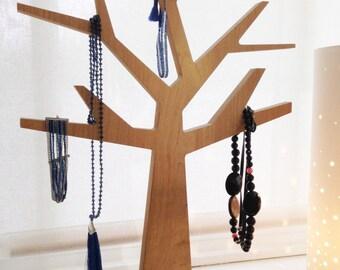 Jewelry tree holder - oak - Made in France