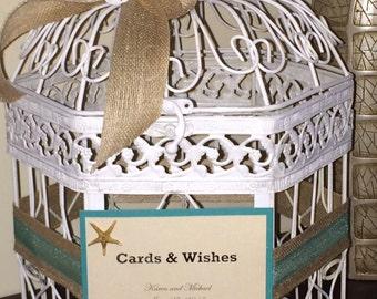 Beach wedding birdcage cardholder