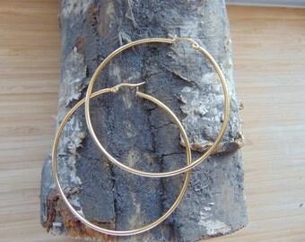 70mm Gold Plated 18K Hoop Earrings