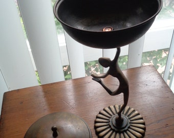 """Mid Century Modern Abstract Brass DANCER figure compote 9"""" Israel 1951 SIGNED Ship WORLDWIDE"""