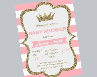 Baby shower crown invitation,shower invite,stripe,pink and white,crown princess,shower invitation,princess,glitter,printable,digital file