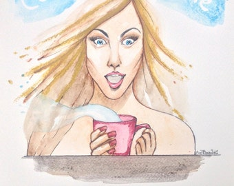 Watercolour Fashion Illustration Titled Coffee Time, with Free Shipping Standard Delivery