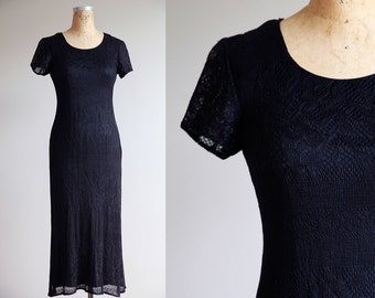 Black netted lace 90s Maxi Dress