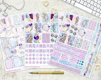 Ocean Mermaids Printable Planner Stickers Daily Planner Blue Purple Aqua Sea Star Sea Horse Fish Coral Dolphin Conch 8.5x11 Instant Download