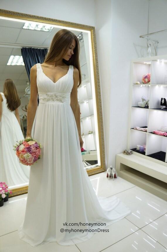 wedding dress empire waist Nessa chiffon wedding dress V