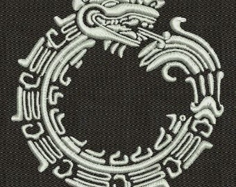 Ethnic Aztecs Uroboros machine embroidery design