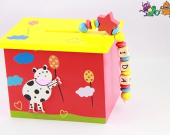 Piggy bank name - children - animals - cow - farm - tractor