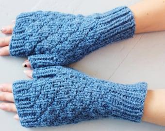 Handknit Fingerless Gloves, Blue Wool Mittens, Blue Wool Gloves, Texting Gloves, Wrist Warmers, Ready to Ship