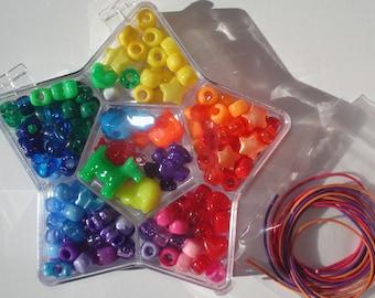 Bead Kit Rainbow Mix Colors Animal Acrylic Pony Beads Elastic Cord Hinged Plastic Box