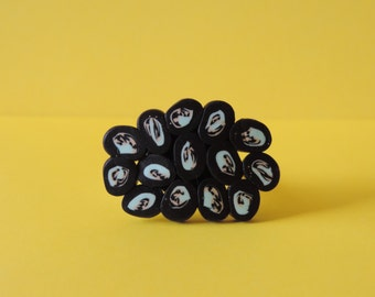 Handmade and adjustable blue charcoal FIMO ring
