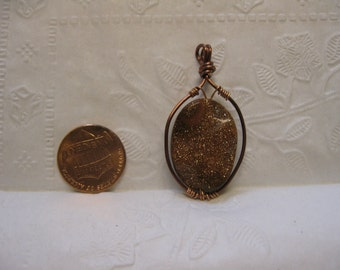 Copper and Goldstone Pendant