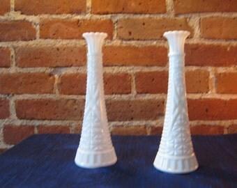 Pair of white milk glass Vase