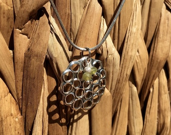 Green Garnet and Sterling Silver Lotus Pod Necklace