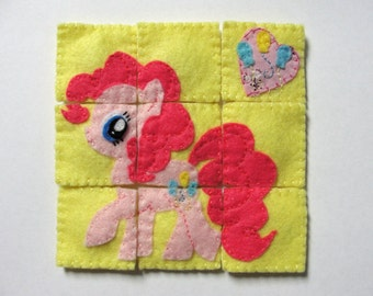 Felt Pinkie Pie Fridge Magnet Puzzle, My Little Pony, Toy, Decor, Felt toy with magnetic layer on the back, Gift, Birthday Gift