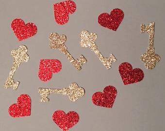 200 Valentine Confetti Glitter Confetti Shower Confetti Key Confetti Heart Confetti Birthday Confetti Gold Confetti Red Confetti