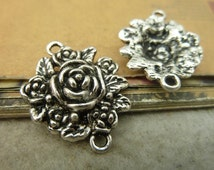 10 Rose Flower Connectors Charms Antique Silver Floral Charms Pendant Bracelet Earrings Making Bookmark Keychains (YT5317)