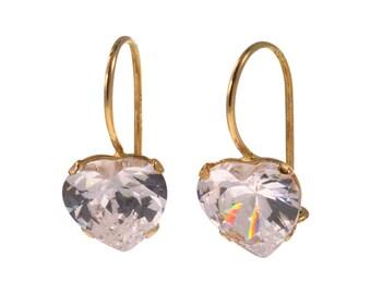 Real Gold Earrings, White Earrings, cubic Zircon, Gold Drop Earrings, Zircon Earrings, 14k Gold Earrings, Heart Earrings, Gold jewelry
